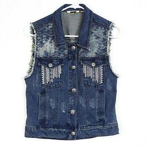Miss Me crochet denim vest size medium